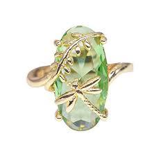 Orcbee _Dragonfly Ring Natural <b>Transparent</b> Peridot <b>Gemstone</b>