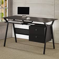 desks metal and glass computer desk with two storage drawers black glass office desk 1