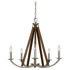 cal lighting monica metalwood chandelier brushed steel cal lighting wood chandelier