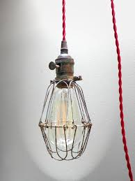 industrial brass patina cage light edison pendant light fixture 12 red twisted cord plug in cage lighting pendants