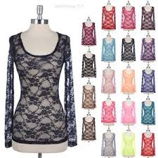 <b>Women's Floral</b> Lace Top Round Neck <b>Long</b> Sleeve Layering Shirt ...