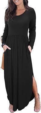 II ININ <b>Women's Long</b> Sleeve <b>Autumn Dress</b> Loose Plain Side Split ...