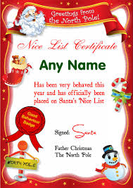 personalised cards party wedding invitations gifts red north pole personalised christmas santa s nice list certificate