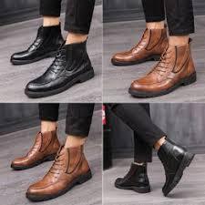 <b>Fashion Men</b> Casual Leather <b>Shoes</b> High-top <b>Boots Shoes British</b> ...