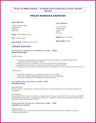 7 university student cv format international business mba international business cv
