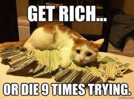 Get Rich Or Die 9 Times Trying - Grumpy Cat Meme - See Funny ... via Relatably.com