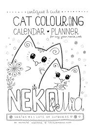 Colour Meow Ozzi Cat Calendar Planner cat Neko Mia cover web printable 1 week calendar,week free download card designs on 2018 monthly calendar printable