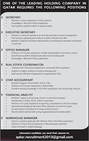 warehouse manager financial analyst chief accountant office one of the leading holding company in qatar requires the following positions