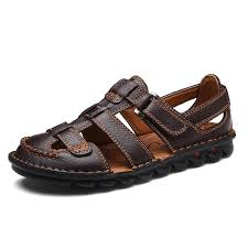 <b>Mens Summer Breathable Sandals</b> Genuine Leather Beach <b>Shoes</b> ...