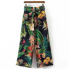 Tropical Print Tie Waist Wide Leg Pants <b>2018 New Spring</b> Floral ...