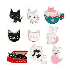 Lovely Cat Brooch Set Cute Cartoon Kitty Rabbit ... - Amazon.com