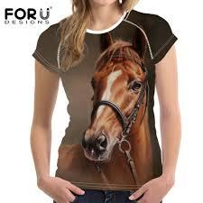 <b>FORUDESIGNS</b> 3D Crazy Horse Pony Print <b>Women T Shirt</b> Slim ...