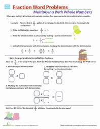 Fraction Multiplication Word Problems | Worksheet | Education.comFifth Grade Fractions Word Problems Worksheets: Fraction Multiplication Word Problems