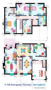 Hand Drawn Floor Plans of Popular TV Show Apartments and HousesThe Simpsons