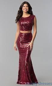<b>Sequin</b> Mermaid <b>Two</b>-<b>Piece Long</b> Burgundy Prom Dress in 2019 ...
