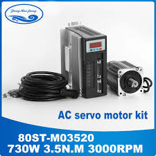 80st m02430 servo motor 220v 0 75w 3000rpm 2 4n m single phase ac matched driver with 3m cable