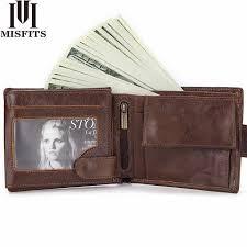 <b>MISFITS NEW</b> Vintage Cowhide <b>Mens</b> Wallet Genuine Crazy Horse ...