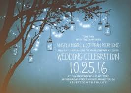 blue night string lights mason jars outdoor wedding invite blue mason jar string lights