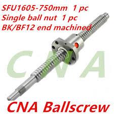 <b>16mm</b> SFU1605 750mm <b>Ball Screw Rolled ballscrew</b> 1pc SFU1605 ...
