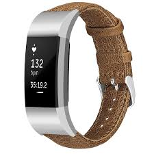 Fitbit charge 2 <b>genuine leather band</b> - light brown - 123Watches