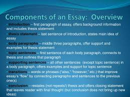 components of an essay overview introduction  first paragraph of essay offers background informationand includes thesis statement thesis
