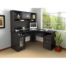 inspiring black l shaped office desk plan with storage and hutch black office desk office desk