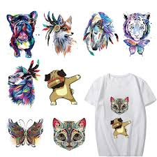 Iron on Watercolor <b>Tiger Dog</b> Owl <b>Patches</b> for Clothing DIY T shirt ...