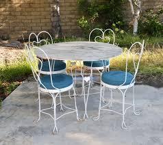 jordan kailua patio set vtg white mid century wrought iron ice cream table amp chairs metal ou