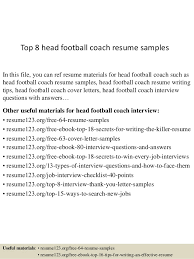 top 8 head football coach resume samples in this file you can ref resume materials coaching resume sample