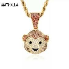 Fashion Jewelry <b>Hip Hop</b> Gold Color <b>Monkey</b> Emoji Pendant ...
