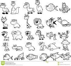 Big Set Of <b>Black</b> And <b>White Cartoon</b>, Vector Stock Vector - Illustration ...
