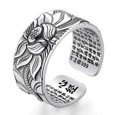 Lotus Ring with Heart Sūtra (<b>999 Sterling Silver</b>) – Mantraness