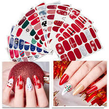 Christmas Full <b>Wraps Nail</b> Art Transfer <b>Stickers</b> Decals Manicure ...