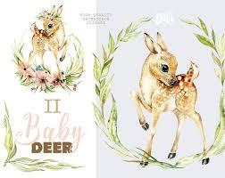 <b>Little Baby Deer</b>. Watercolor animal clipart flowers roe | Etsy ...