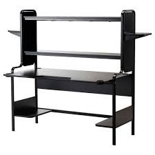 ika black metal compuer table with open shelf and screen board panel also short legs as black stained solid wood computer desk black wooden office desk