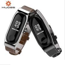 <b>Mijobs mi band 3</b> Strap Genuine Leather Wrist Strap Bracelet For ...
