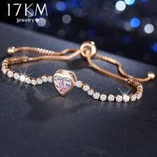 Simple Heart <b>Crystal</b> Bracelet & Bangles For <b>Women</b> Cute Charm ...