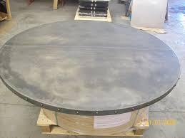 images zinc table top:   cm diameter zinc table top offset seam edge trimmed bronze studs