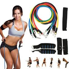 <b>11Pcs Set Resistance Band Yoga</b> Pilates Abs Exercise Fitness Tube ...