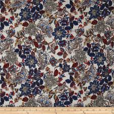 Telio <b>Poly Pebble</b> Crepe <b>Print</b> Floral Ecru Blue - Discount Designer ...