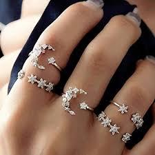 Hongxin 5Pcs/Set Moon Star Crystal Rings For ... - Amazon.com