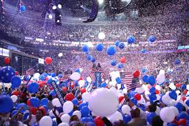 Image result for hillary supporters dnc convention confetti pics