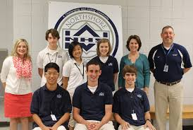 northshore high school pictured on the top row from left to right are christie neinaber nicholas hallal yuanxia lee leah weaver cheryl yeates and principal frank jabbia
