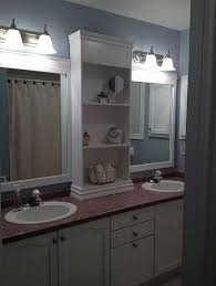 update bathroom mirror: large bathroom mirror redo to double framed mirrors and cabinet