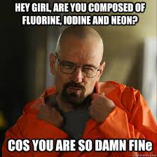 HEY GIRL, ARE YOU COMPOSED OF FLUORINE, IODINE AND NEON? COS YOU ... via Relatably.com