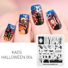 1pc Nail Art Stamp <b>Template Halloween Castle</b> Witch Bat <b>Pattern</b> ...