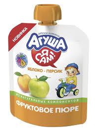 Купить <b>фруктовое пюре АГУША</b> Я САМ, яблоко-персик, 90г в ...