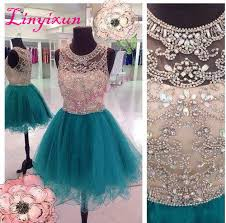 Linyixun 2018 <b>Sexy</b> Homecoming Dresses Scoop Hunter Teal Tulle ...