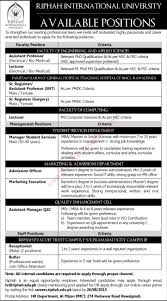 riphah international university jobs 2015 teaching faculty riphah international university jobs 2015 teaching faculty admin staff latest