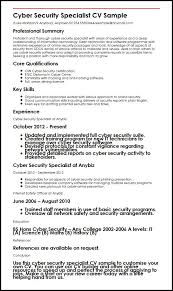 cyber security specialist cv sample   curriculum vitae buildercyber security specialist cv sample